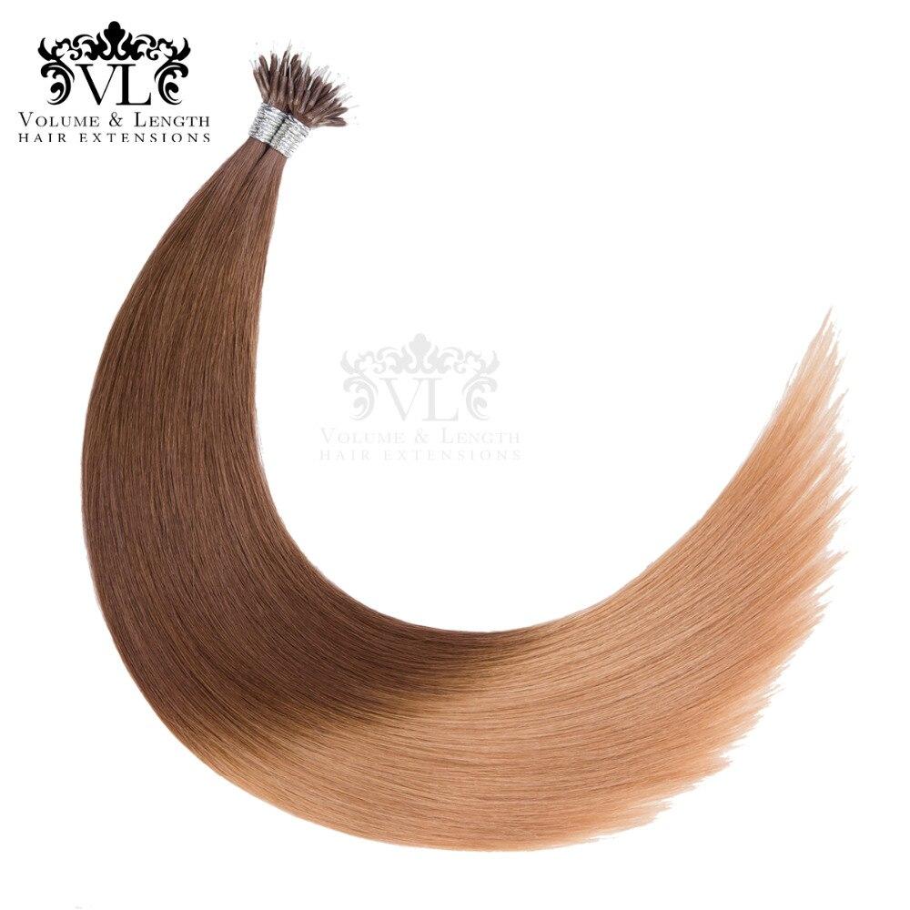 """Vor Verbundene Nano Spitze 100% Remy Haar Extensions 14 """"18"""" 50 Gr/paket Gerade Haar Gradienten Braun Salon Schuss Freies-versand Vl14n"""