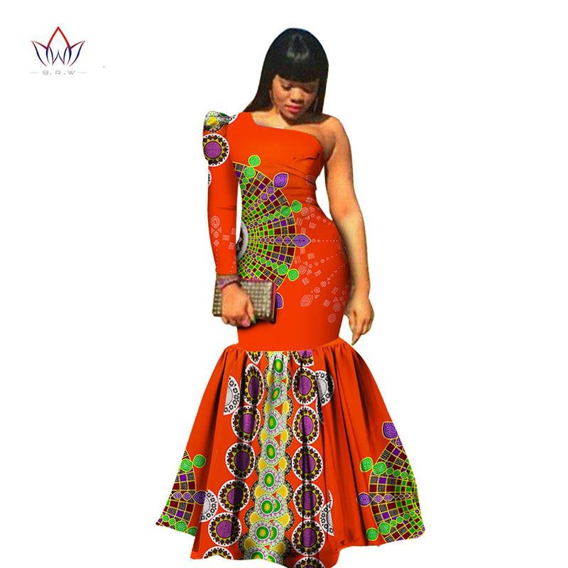 Summer Dress African Fabric Print Dresses Shoulder Long Sleeve Mermaid Maxi