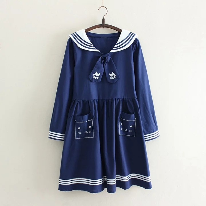 Japanese Girls Lovely Cat Embroidery Design Dresses Casual Youth Women Sailor Collar With Tie Cotton Dress Drop Shipping