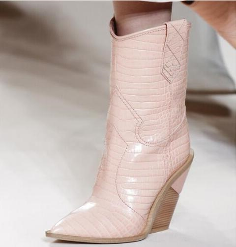 Women Cowboy Boots Pink White Leather Geometric Cut-out Wooden Heels Mid Calf Boots for Women Pointed Toe Embossed Leather Boot pink cut out