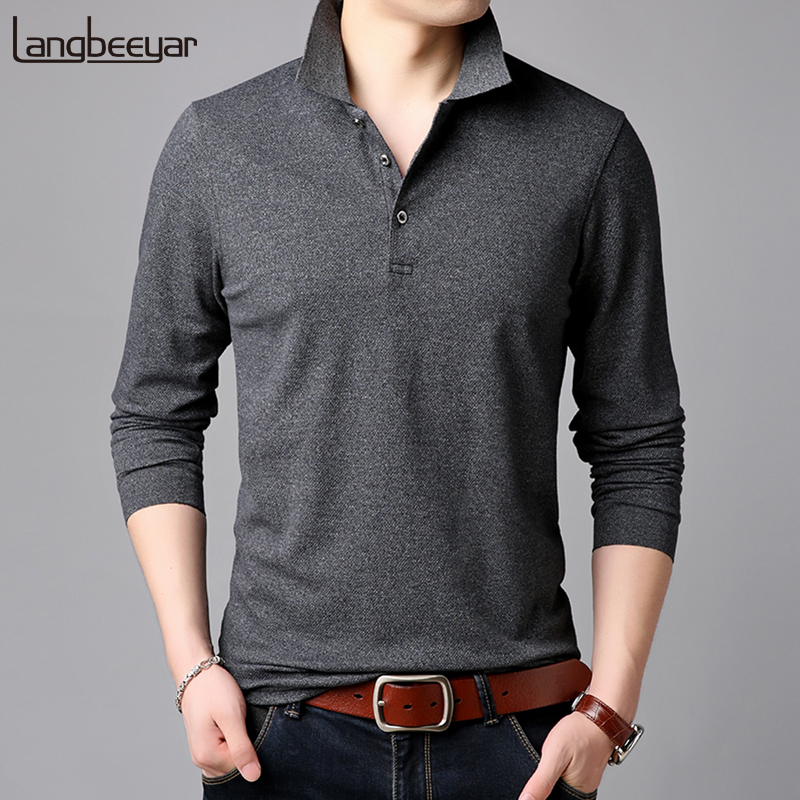 2019 Top Grade New Fashion Brands Polo Shirt Mens Solid Color Long Sleeve Slim Fit Boys Korean Poloshirt Casual Men Clothing