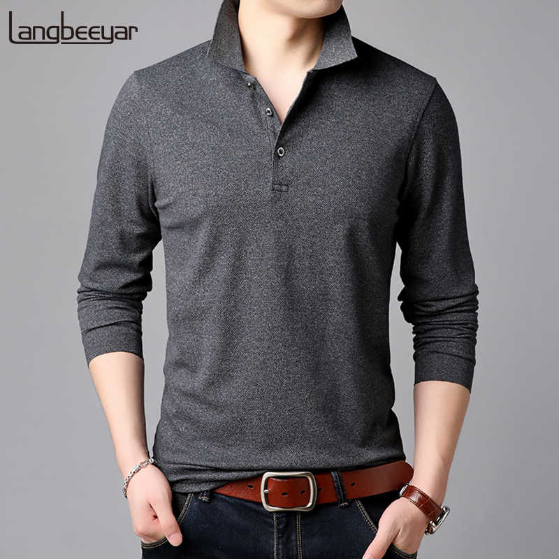 b5e730d959a 2019 Top Grade New Fashion Brands Polo Shirt Mens Solid Color Long Sleeve  Slim Fit Boys
