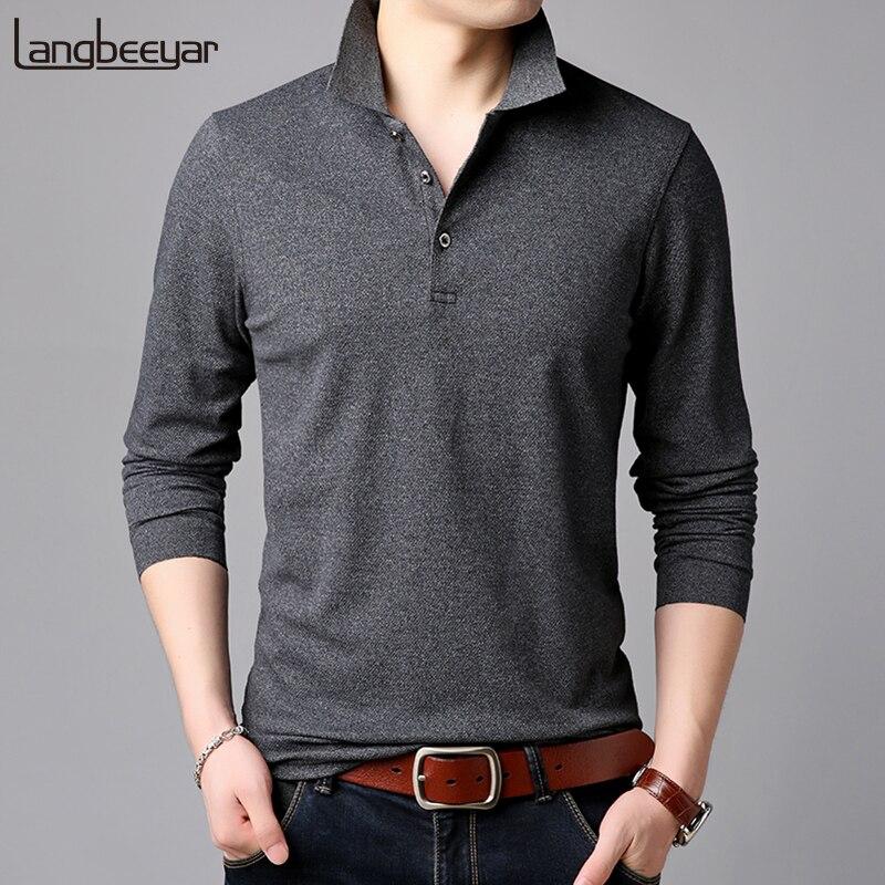 2019 de Grau Superior Nova Marcas de Moda Mens Camisa Pólo Cor Sólida Longo Poloshirt Manga Slim Fit Meninos Coreano Homens Casuais roupas