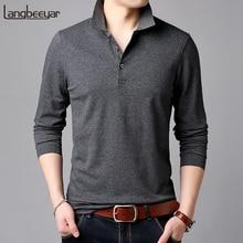 2020 Hoogwaardige Nieuwe Mode Merken Polo Shirt Mens Effen Kleur Lange Mouwen Slim Fit Jongens Koreaanse Poloshirt Casual Mannen kleding
