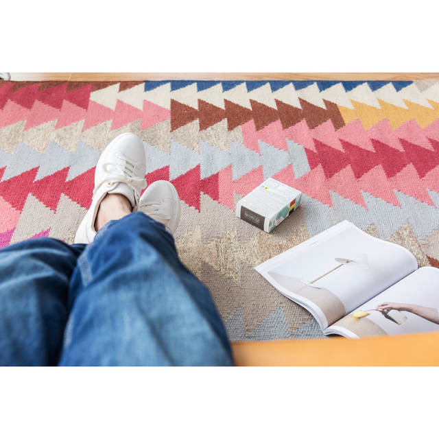 Placeholder Collalily 100 Wool Kilim Carpet Geometric Bohemia Indian Rug Plaid Pink Striped Modern Contemporary Design