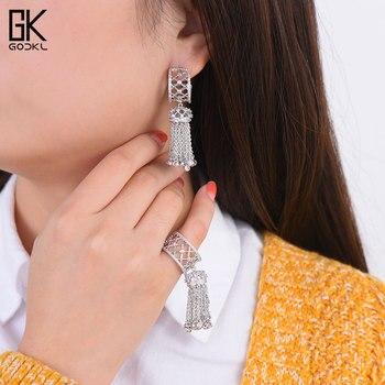 7ceda8d6cbbb GODKI lujo borla gotas pendiente anillo Cubic Zircon cristal CZ joyería  conjuntos para mujeres boda India joyería nupcial conjunto 2018