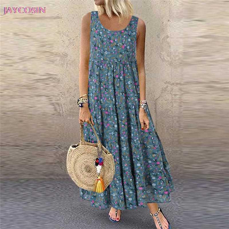 JAYCOSIN 2019 robe femmes décontracté lâche sans manches Floral quotidien lin imprimé longue robe Style romain grande taille S-5XL goutte #0626