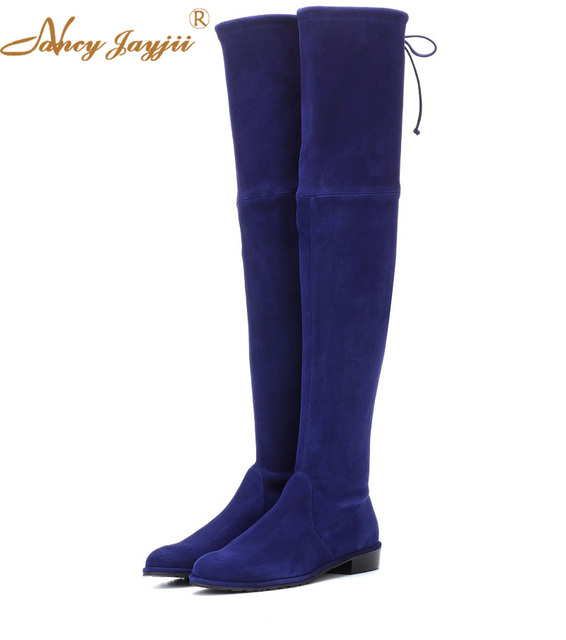 742a18972036f Lowland Skimmer Suede Over-the-Knee Women Boots Winter/Spring Black&Blue  Fringle Flat Med Heels High Boots Shoes Nancyjayjii