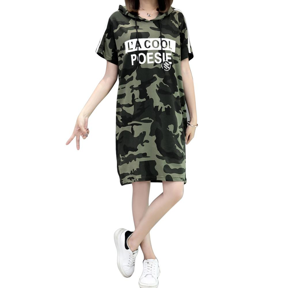 Yfashion A line Camo Hooded Dress Women Summer Casual Cotton Loose Short Sleeve Dresses Printing Camouflage Dress Vestidos in Dresses from Women 39 s Clothing