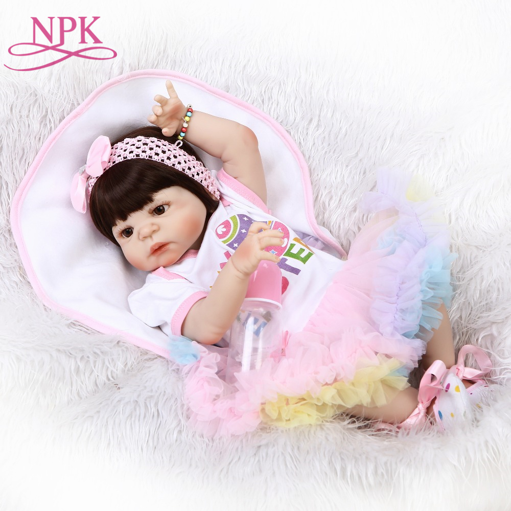 ship from Brazil NPK 56cm full silicone vinyl body Lifelike baby girl with Colored skirt silicone