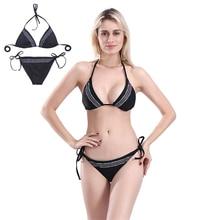 Off The Shoulder Tie-Waist Brazilian Bikini Push Up Lace Up Adjustable Triangle Separate Swimsuit Sling Padded Women Swim Wear