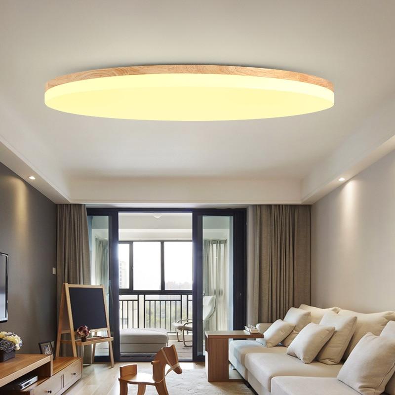 Modern LED Wooden Ceiling Lights High 5cm Lighting Fixture Living Room Bedroom Kitchen Surface Mount Remote