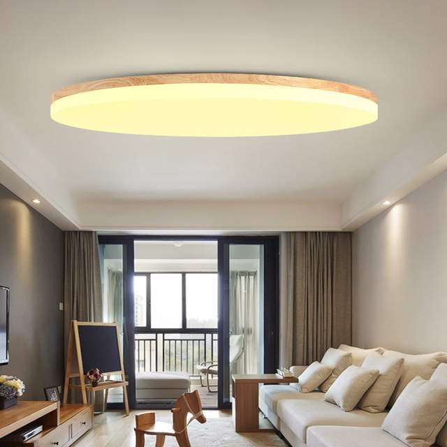 Modern Led Wooden Ceiling Lights High 5cm Lighting Fixture Living Room Bedroom Kitchen Surface Mount Remote Control Zxd0001 In From