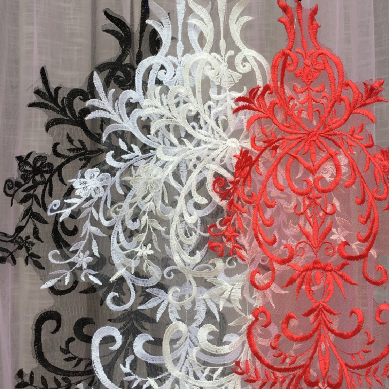 5 Pieces Lace Applique Fabric French Lace Fabric Ivory Black Red White Embroidered Accessories For Wedding Dress in Lace from Home Garden