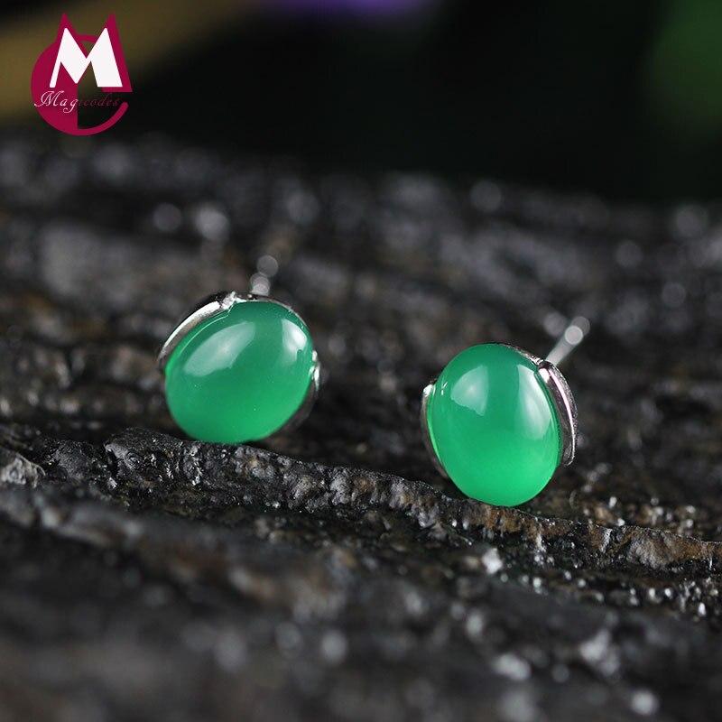 Romantic Green Stone Agate Earrings For Women S925 Sterling Silver Stud Earrings Handmade Small Round Chalcedony Jewelry SE12