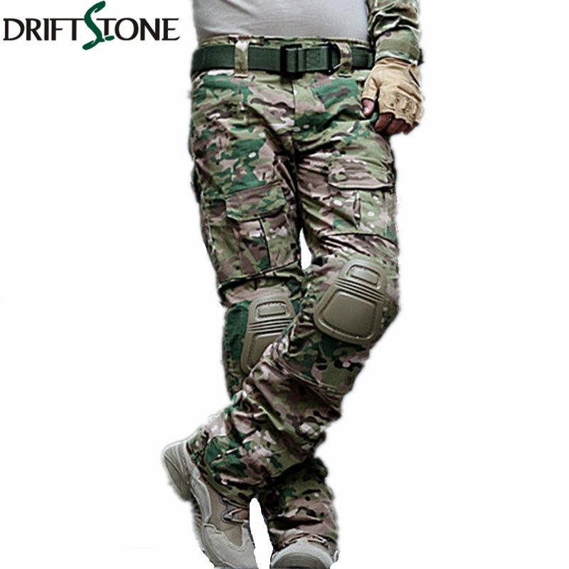Camouflage Military Tactical Pants Army Military Uniform Trousers Airsoft Paintball Combat Cargo Pants With Knee Pads(China)
