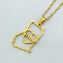 Gold Color Heart Ghana Map Pendant Necklace With Thin Chain Jewelry Ghanaian Country Maps #J0332(China)