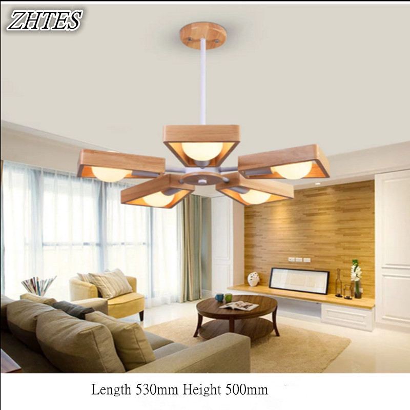 Simple Nordic Solid Wood Chandelier Dining Room Living Room Study Bedroom Original Wood Art Creative Lamps zx hot sale solid wood iron nut e27 led chandelier height adjustable for dining room bar bedroom