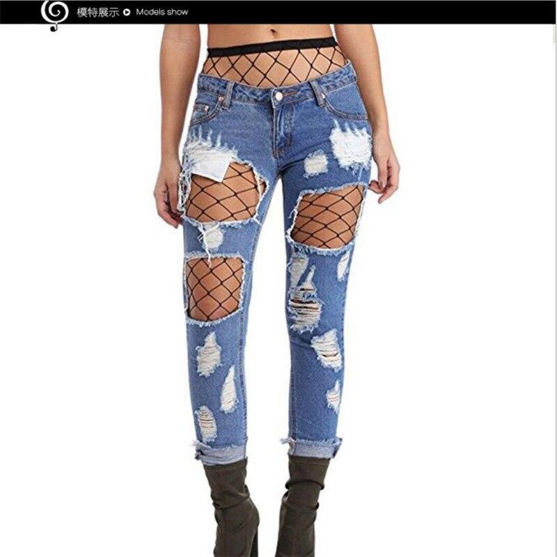 83d6fb94b2 Nuevo estilo de Moda mujer Pantalones Vaqueros Mediados de Cintura  estiramiento jean Mano usar Jeans Rasgados Agujero Mendigo Pantalones  Rectos sexy ...