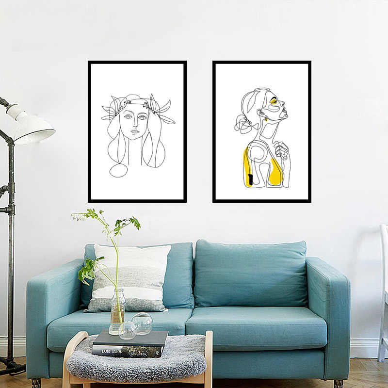 Abstract Women Line Drawing Nordic Poster&Prints Modern Canvas Painting Wall Art Minimalist Wall Picture For Home Decor No Frame