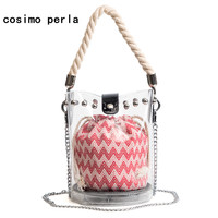2018 Summer Clear Jelly Shoulder Bags Plastic Bucket Crossbody Bags For Women Mini Purse Chain Rivet