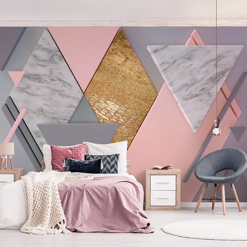Custom 3D Photo Wallpaper Waterproof Pink Geometric Pattern Nordic Living Room TV Background Large Mural Wall Papers Home Decor