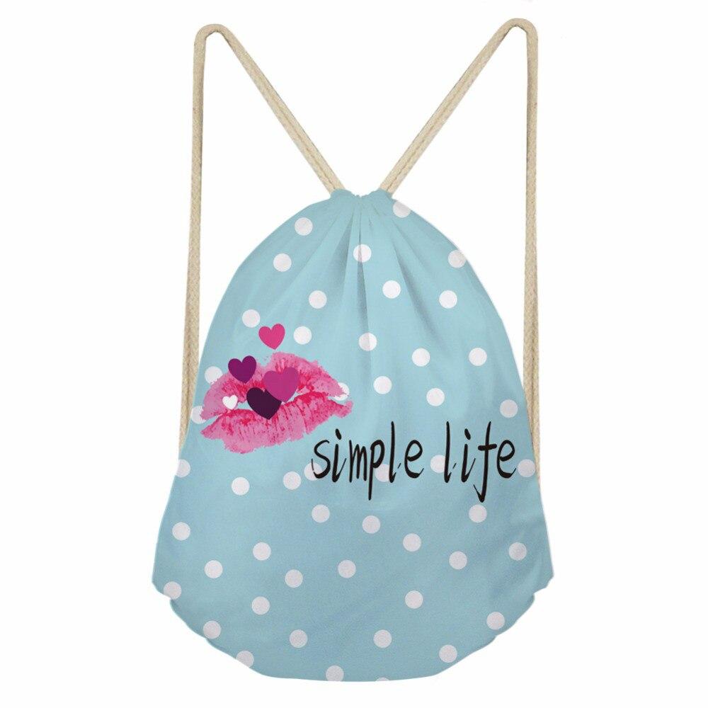 ThiKin Girl Drawstring Bag String Sack Beach Women Travel Storage Package Lip Print Teenagers Backpack Female