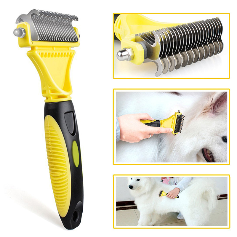 New Stainless Double sided Pet Comb Dog Cat Hair Removal Comb Open Knot Rake Knife Deshedding Brush Grooming Tool in Cat Grooming from Home Garden