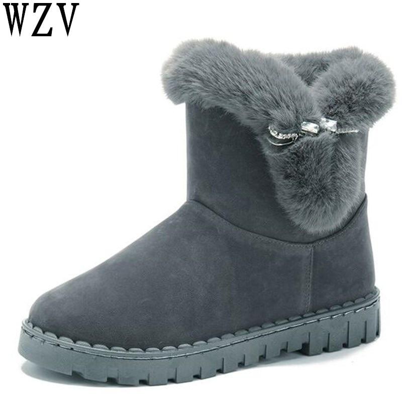 8acb097d3 Impermeable Mujer Pelo Negro Conejo Invierno Estilo gris Botas Nieve 2018  Fondo Caliente Engrosada Nuevo F328 ...