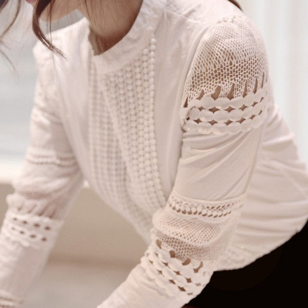 Ropalia Summer Women S Slim Embroidery Long Sleeve Shirts Crochet