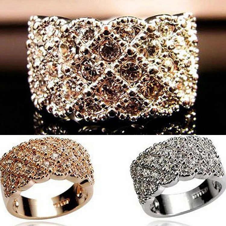 2017 חדש תכשיטים אביזרי יוקרה מלא ריינסטון משובץ נוצץ אישה טבעת זהב כסף מצופה טבעת-0084