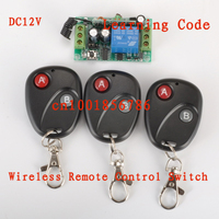 Free Shipping 12V 1ch Rf Wireless Remote Control Switch System Receivers 3 Transmitter Learning Code Gateway