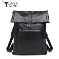 men backpack cow leather high quality black 2017 man fashion brand genuine leather travel student vintage casual backpack bags