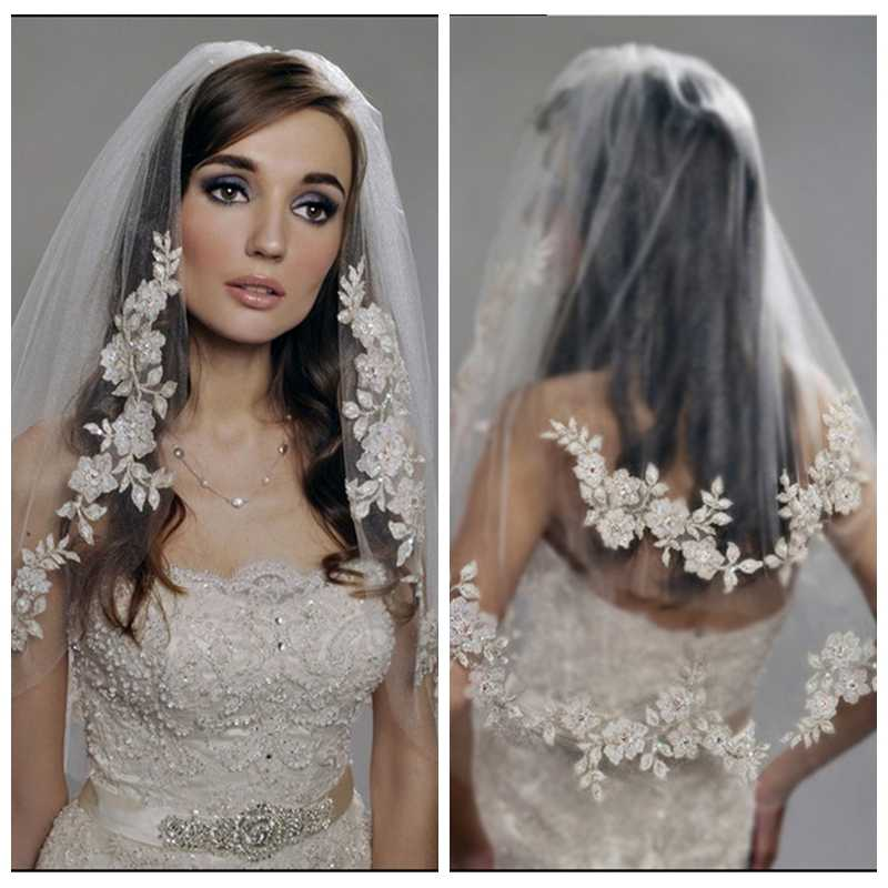 Vintage White Ivory Lace Bridal Veil Short Two Layers Veil Bridal Wedding Hair Accessories With Comb New Design 2019 Gorgeous Bridal Veils Aliexpress