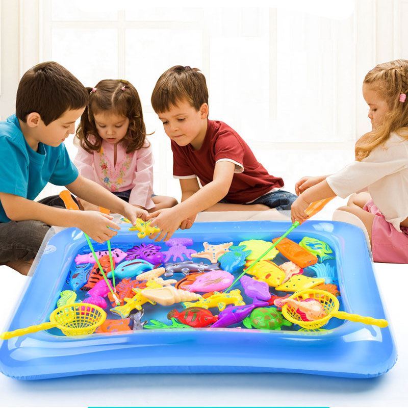 40pcs/lot Magnetic Fishing Toy With Inflatable Pool Rod Net Set For Kids Party Model Play Fishing Games Summer Outdoor Toys