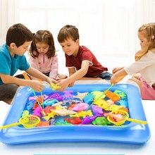 40 шт./лот, магнитная рыболовная игрушка с надувной удочкой для бассейна, набор для детской вечеринки, модель для игры в рыболовные игры, летние уличные игрушки