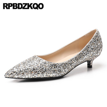 pink glitter evening size 33 2019 4 34 sparkling kitten silver party sequin bridal dress women shoes low heels pointed toe bling