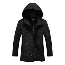 Winter Pure Color Men's Hooded Parkas Fashion Business Warm Men Long Jacket Teen Slim Comfortable Clothing Men Coats & Jackets