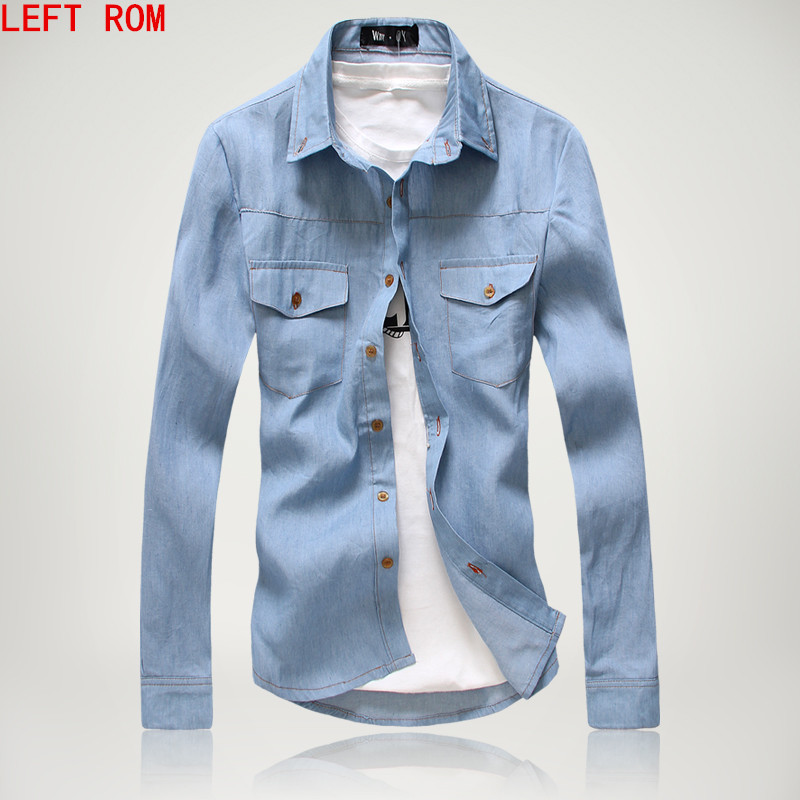 2017 Men Denim Jeans Shirts Male Casual Fashion Slim Fit Fitness Long Sleeved Plus Size Men Shirts Hombre Camisa Masculina