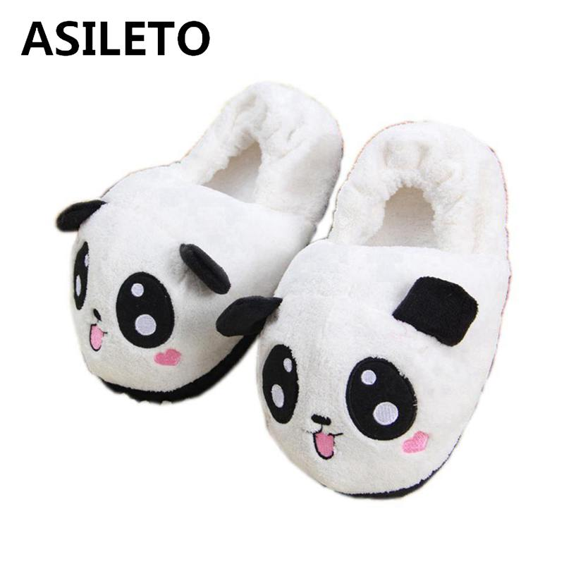Abdb Slipper Indoor Novelty For Lovers Winter Warm Slippers Lovely Cartoon Panda Face Soft Plush Household Thermal Shoes 26cm Shoes Women's Shoes