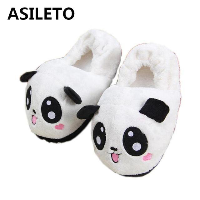 fba4260f04462 ASILETO Winter Indoor Panda Slippers Flat Furry Home Cartoon Women emoji Slippers  unisex Couple Animal Warm Non-slip Shoes T389