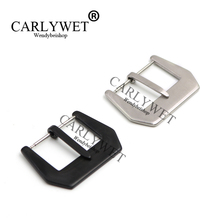 CARLYWET 24 26mm 3mm Tang Tongue Pin Buckle Black Silver Brushed  Stainless Steel For Panerai Watch Band Strap