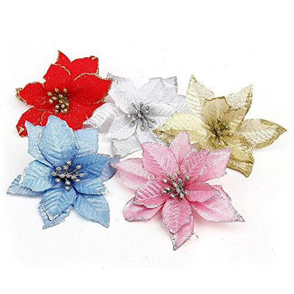 Silver Glitter Shiny Artificial Silk Flower Bouquet for Wedding Decoration Scrapbook DIY handcarft  Xmas Trees Ornaments-4