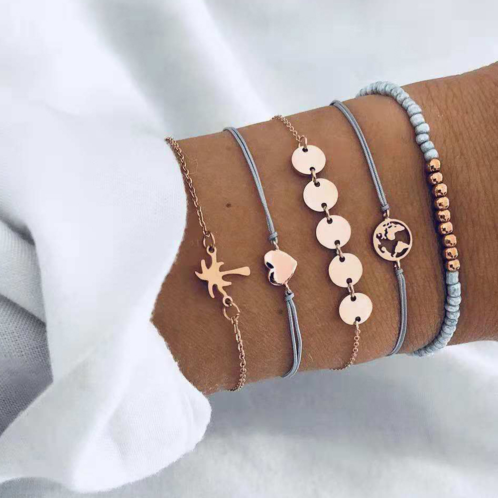 5 PCS/Set Fashion Heart Map Charm Bracelets Set For Women Boho Vintage Stone Leather Chain Bracelet Party Jewelry Wholesale