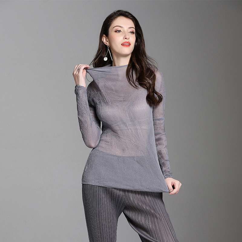 Azterumi See Through Special Pleats T Shirt Fashion Long Slim Turtleneck Bodycon Sexy Ladies Womens Full