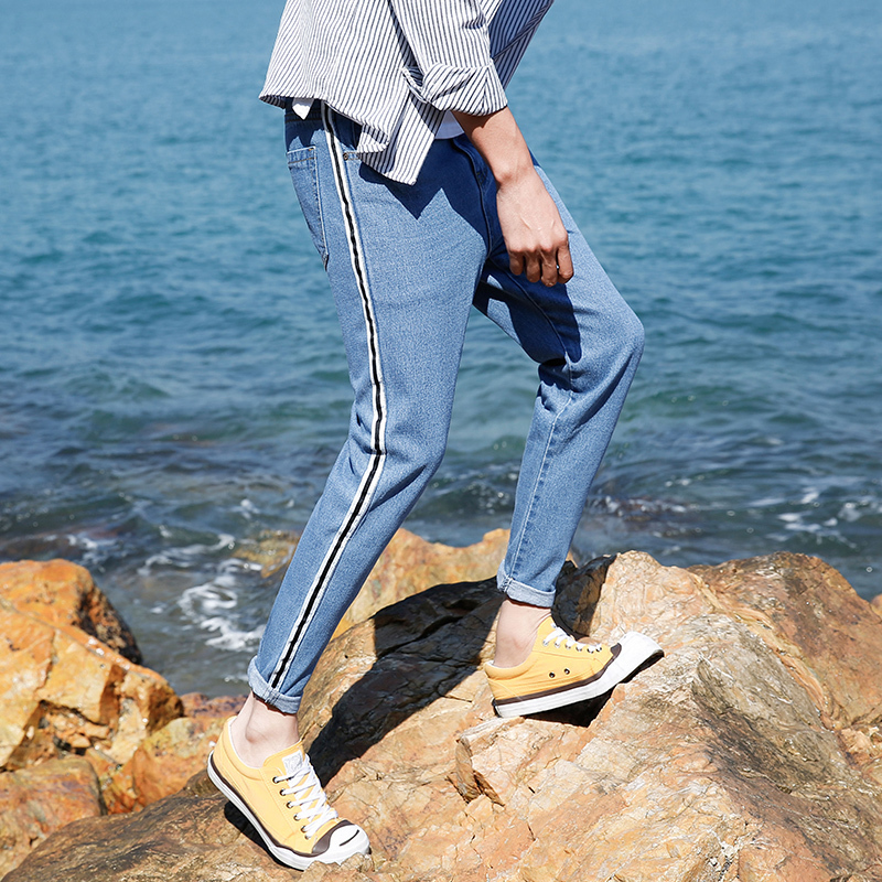 2018 Korean Style New Mens Fashion Trend Striped Cowboy Youth Denim Stretch Slim Fit Jeans Casual Pants Blue Trousers 27-36
