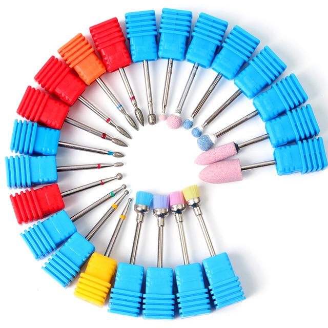 1pcs Diamond Nail Drill Bits Ceramic Milling Cutter Polish Rotary Burr Cuticle Clean Manicure Electric Accessories Tool JIGS/M/S