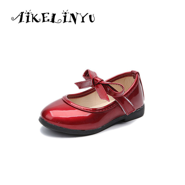 AIKELINYU Autumn Children Shoes Baby Girl Bow Solid Color Leather Shoes Red  Princess Casual Shoes Kids Cute Dance Shoes Wedding ce78e284a823