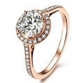EDI Vintage Soild 9K Rose Gold Halo 1CT Round Cut Simulated (EF VVS) Diamond Elegant Engagement Ring For Women Party Jewelry