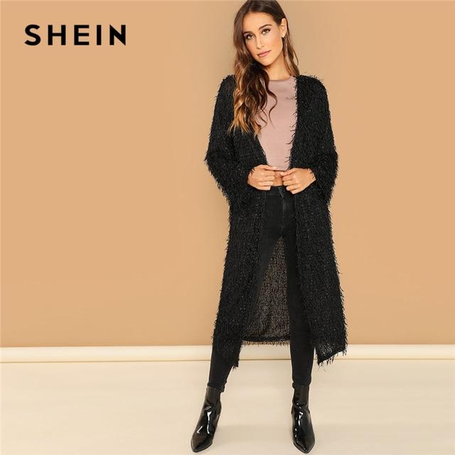 58d94de1a4 SHEIN Black Highstreet Glitter Fuzzy Duster Longline Solid Coat 2018 Autumn  Fashion Casual Women Coats And